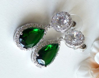 Wedding Bridal Earrings Halo Emerald Green Pear Shaped Cubic Zirconia Round Post White Gold Plated Earrings