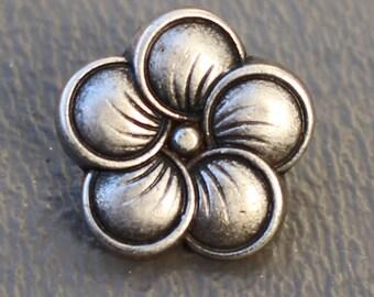 """2 Small Neroli Flower Metal Buttons - 5/8"""" Shank Buttons"""