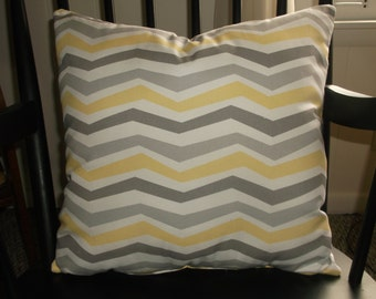 Buttercup, White, Light Gray, Medium Gray Accent Pillows, All Cotton, Crisp & Fresh For Spring Into Summer, Horizonal Jagged Stripes Pillow