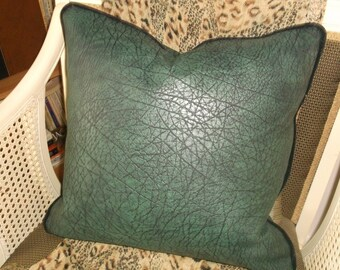 Croc Accent Pillow, Heavily textured faux Croc Vinyl, Deep Jade Green, Black Faux Suede Piping Trim By Pillowinno