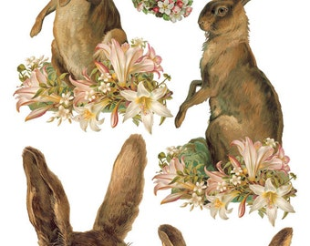 Easter Hares Sticker Package - 2 sheets - from Violette Stickers