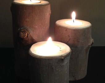 Rustic Twig Tea Light Holder, set of 3, Free shipping