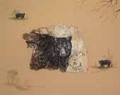 Black Bear Print of bear painted on birch bark - Print 8 x 10 inches