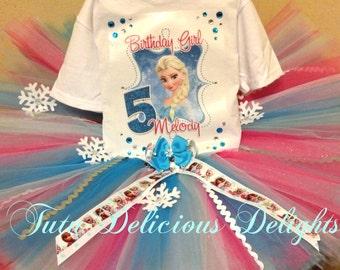 Elsa Frozen Birthday Tutu and Shirt, Frozen Birthday Outfit, Elsa Tutu, Frozen Party, Elsa Birthday Shirt, Elsa Iron On, Frozen Tutu Set