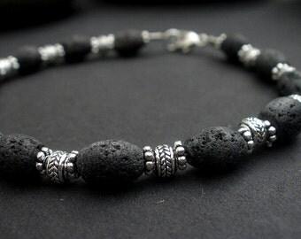 Men Lava Bracelet,Black Lava 6x8mm Drum Shape - 925 Bali Silver Bracelet, Unisex Bracelet, Bali Silver Bracelet, Power Bracelet