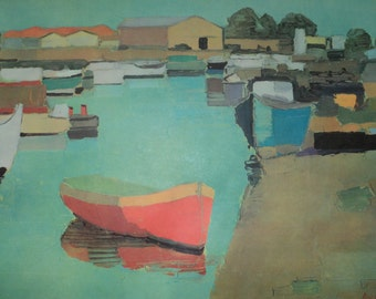 Vintage Large  Lithographic Print by Piere Paul of Boats at a Dock, Well Done Composition with wonderful colors
