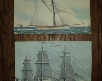 SHIPS AHOY!  2 Vintage Nautical Naval Ship  lithographic prints from a 1974 Travelers Insurance Companies calendar in Very Good Condition