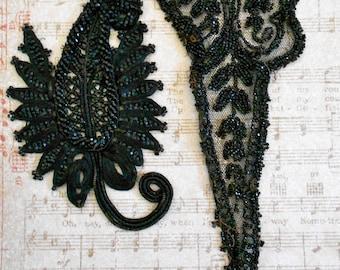 Victorian Black Beaded Appliques