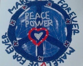 Peace Power Sign Applique Patch Paper Supplies Vintage Crafts Projects Scrapbook