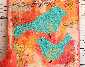Turquoise Birds Mixed Media Painting on 8x8 Canvas Board, Original Artwork, Acrylic Painting, Gift for Bird Lovers, Orange And Turquoise