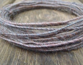 Fiber Wire Core Handspun Art Yarn 24 gauge wire Red Riding Hoods Wolf- Horse Feathers
