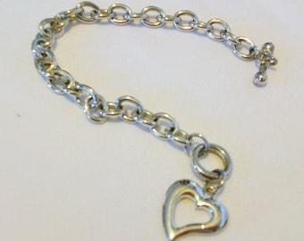 Silver 925 Chunky Chain  Heart Charm  Bracelet