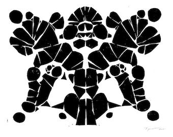 Linocut Print - Rorschach Inspired - Block Print - Wall Art