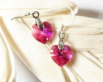 Valentine's Day Hot Pink Heart Earrings , Hot Pink hearts , Swarovski Crystal Heart earrings , Valentine's Day , Gift
