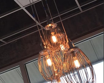 Lighting -Industrial Hanging Lighting -Upcycled Whisk