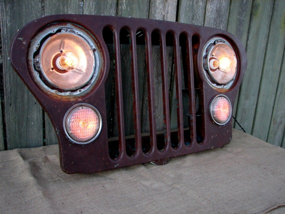 Reserved For Julie Upcycled Vintage Jeep Grill Lighted Wall