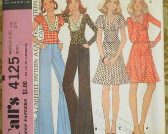 McCalls 4125 pullover top, skirt pattern, bust 36 pattern, 1970s pattern, knit fabric pattern, side zip skirt, puffed sleeve top