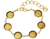 """Gold Cabochon Bracelet Setting - Holds 12mm -  6 3/4""""""""  (17cm)  -  Ships IMMEDIATELY from California - CH443"""