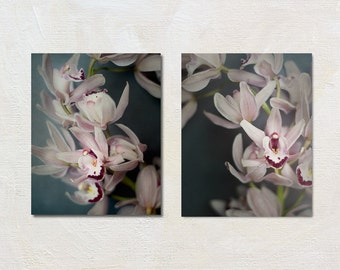 Orchid Photography Set, Flower Picture Set, Pink and Grey Wall Art, Vertical Photograph Set, Botanical Print Set, Two Photo Set