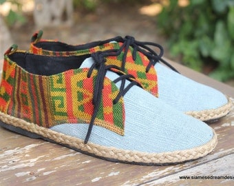 Vegan Oxfords Men's Shoes In Natural Hemp & Colorful Laos Tribal Embroidery - Alex