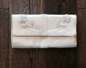 Vintage Silk and Beaded Off- White Clutch by La Regale