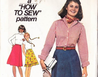 PATTERN Simplicity 7870 Junior Girls Teens Skirt wrap with front button or plain or with frill Size 9/10 How to Sew