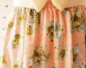 Pale Tangerine Green Floral Skirt Rose Skirt Summer Skirt Swing Pastel Skirt  Dancing Skirt Cotton Skirt Vintage Floral Skirt - Size S-M