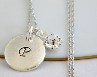 Initial Silver Charm Rhinestone Necklace