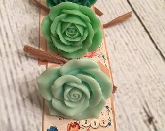 Sweet Green Vintage Style XL Matte Rose Ring