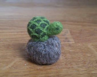Miniature turtle tortoise needle felted home decor