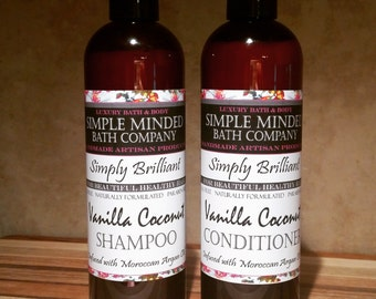 Vanilla Coconut - Luxury SHAMPOO & CONDITIONER SET - Sulfate Free - Paraben Free - sls Free - Artisan Products by Simple Minded Bath Company