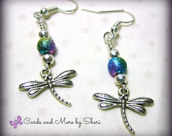 Handmade Beaded Dragonfly Earrings