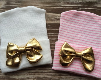 First Bow Newborn Hospital Hat Gold Metallic Bow (newborn girl hat, newborn beanie, newborn hospital hat with bow, first bow)