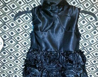 Baby Audrey black rosette bubble dress 2T