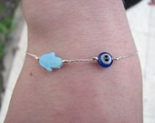 Opal Hamsa and Evil Eye Bracelet, Delicate Charms on Sterling Silver Fine Chain