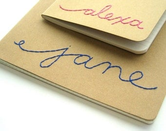 custom Moleskine | custom lined journal | Embroidered Name Journal | kraft notebook | ruled pages | made to order