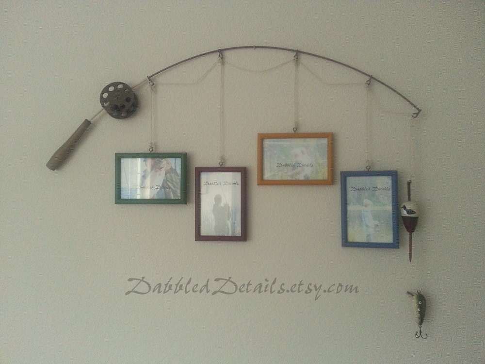 Fishing pole picture frame metal brown 4 by dabbleddetails for Fishing picture frame