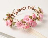 Pink Flower Crown, Floral Hair Piece, Bridesmaid Headband, Wedding Hair Wreath, Fairy Head Wreath, Summer Flower Halo, Woodland Circlet