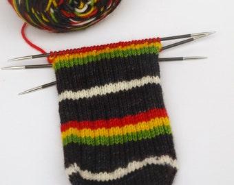Ready To Ship: Hand Dyed Sport Weight Yarn, Self Striping, Superwash Merino/ Nylon, Rasta Baby v2.0