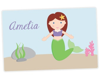 Mermaid Placemat - Mermaid Personalized Placemat for Girl - laminated, double-sided