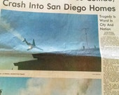 Vintage Newspaper Sections - Two Jets Collide Mid-Air - PSA Flight 182 Crash in San Diego Neighborhood Killing 150 - September 26, 1978