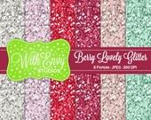 SALE Glitter Digital Scrapbook Paper Pack - Glitter Scrapbook Paper Set - Maroon Glitter - Green Glitter - Instant Download