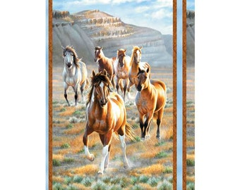 Horses, Unbridled by Wilmington Prints, Horse Fabric, Western Fabric, 1 Panel, 10211
