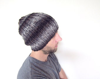 Mens Knitted Hat Guys Slouchy Beanie Loose Knit Cap Black Gray Striped Accessories Warm Winter Knits Handmade Hipster Fashion Autumn Fall
