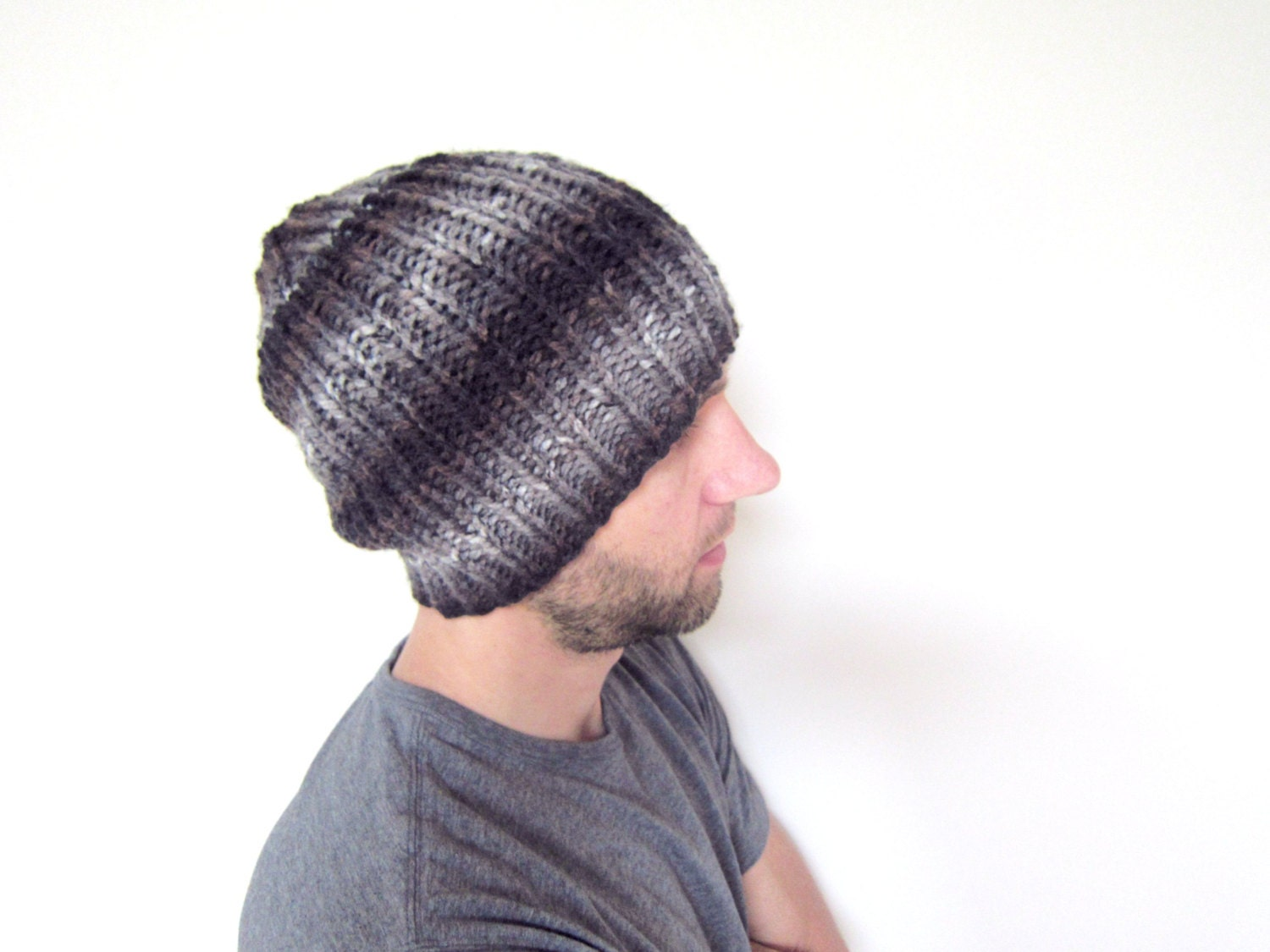 Knitting Pattern For Loose Beanie : Mens Knitted Hat Guys Slouchy Beanie Loose Knit Cap Black Gray