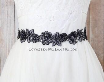 Dark Gray  Beaded Lace Sash,Gray  Lace Headband ,  Bridal Headband, Bridesmaid Sash, Flower Girl Sash /SH08
