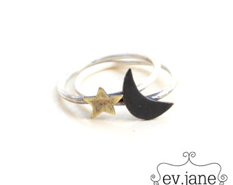 Half Moon Star Slim Ring US 8.5 Sterling Silver Metal Mix Brass Copper Hand Cut Stacking Soldered Oxidized Boho Hippie by evismetalwork