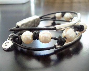 Leather Multi Strand Bracelet with Freshwater Pearls - Silver Tubes - Initial Charm -  Magnetic Clasp  - Custom Leather Bracelet