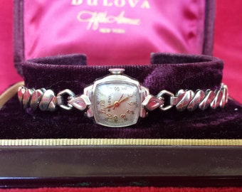 Rare Collectible 1955 BULOVA White Gold rgp Nurses Watch Matching Band SERVICED with Watch Case Shop for Mother's Day Birthday or Wedding