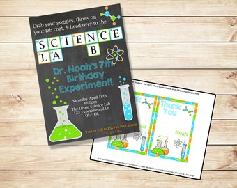 Science Birthday Invitation - Science Party Invitation - PRINTABLE Invitation and Thank You Card - Chemistry - Boys Birthday Invitation